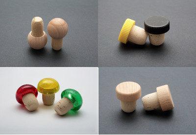 Tappo in sughero con testine in plastica e legno